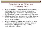 examples of actual cois within academia cont