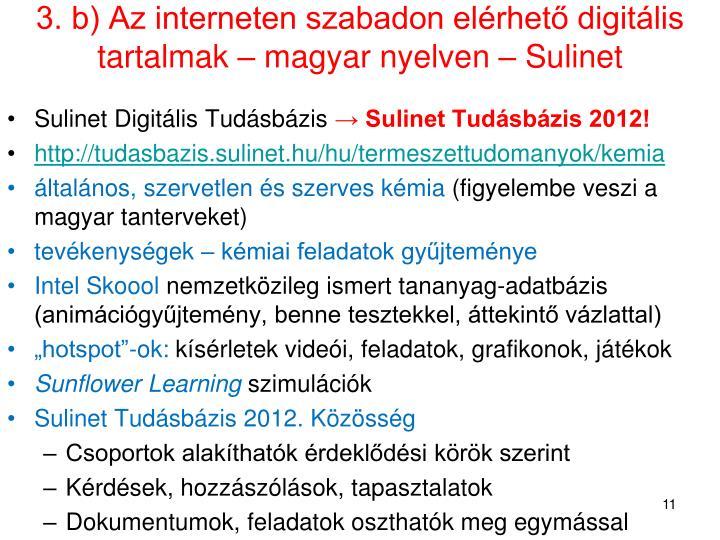 3. b) Az interneten szabadon elérhető digitális tartalmak – magyar nyelven – Sulinet