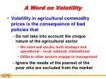 a word on volatility