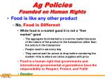 ag policies founded on human rights