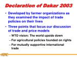 declaration of dakar 2003