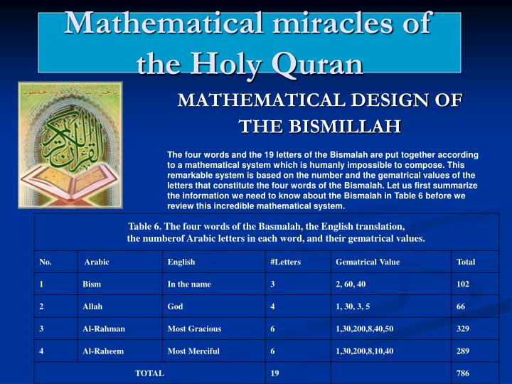 Ppt mathematical miracles of the holy quran powerpoint mathematical miracles of the holy quran toneelgroepblik Images