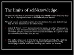the limits of self knowledge