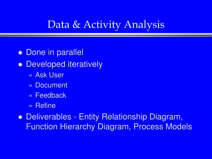 Data & Activity Analysis