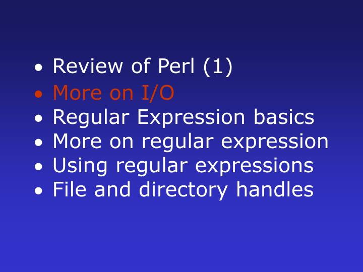 Review of Perl (1)