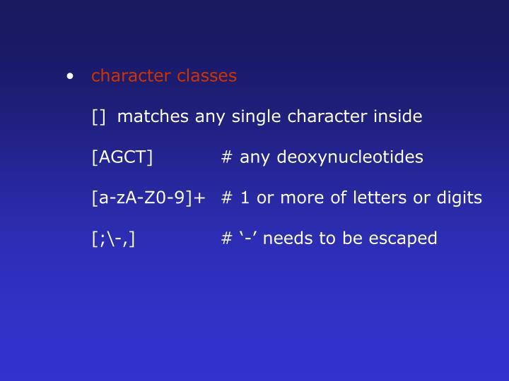 character classes