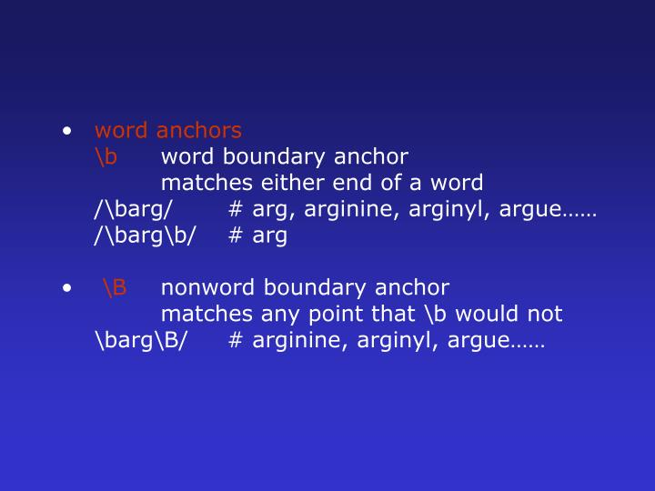word anchors