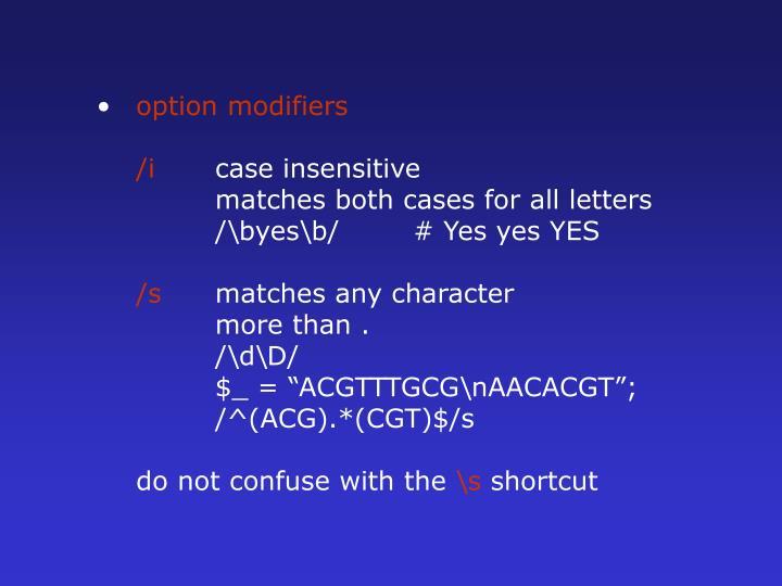 option modifiers