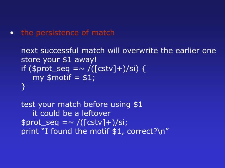 the persistence of match
