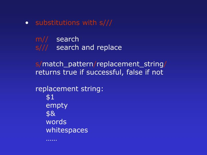 substitutions with s///