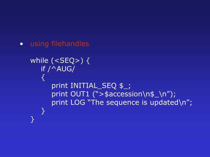 using filehandles