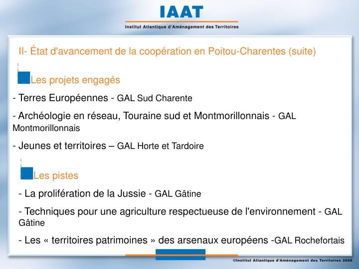 II- État d'avancement de la coopération en Poitou-Charentes (suite)