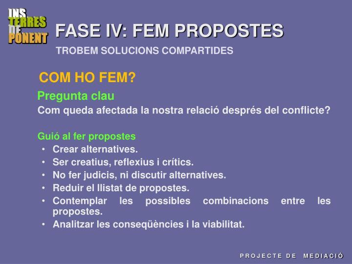 FASE IV: FEM PROPOSTES