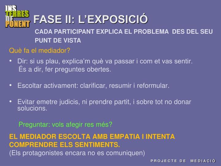 FASE II: L'EXPOSICIÓ