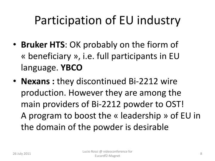 Participation of EU