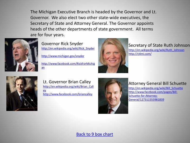 The Michigan Executive Branch is headed by the Governor and Lt. Governor.  We also elect two other state-wide executives, the Secretary of State and Attorney General. The Governor appoints heads of the other departments of state government.  All terms are for four years.