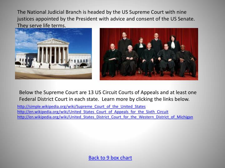 The National Judicial Branch is headed by the US Supreme Court with nine justices appointed by the President