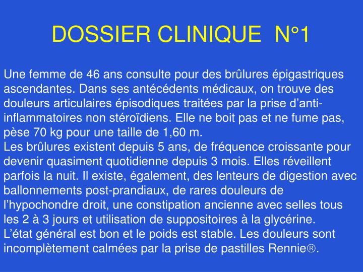 Dossier clinique n 1