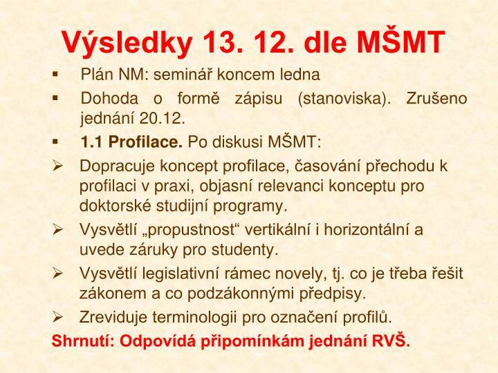 Výsledky 13. 12. dle MŠMT