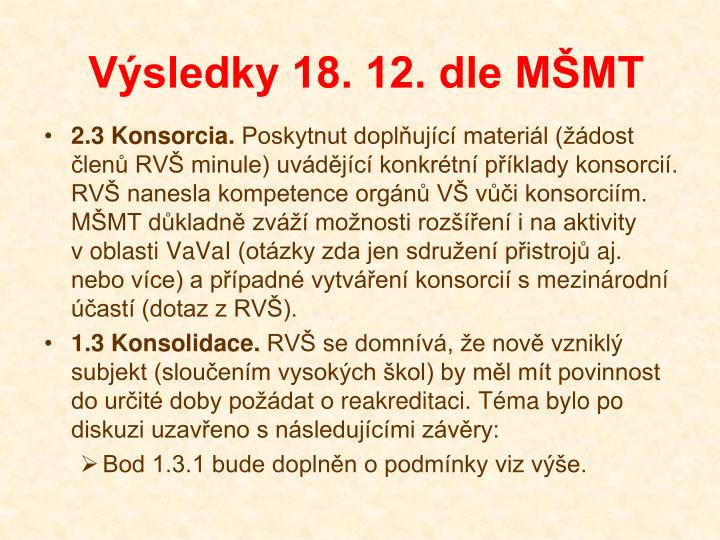 Výsledky 18. 12. dle MŠMT