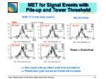 met for signal events with pile up and tower threshold