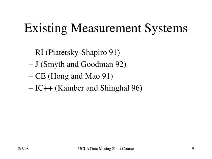 Existing Measurement Systems
