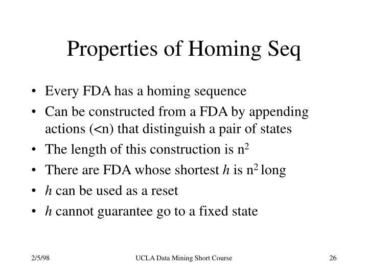 Properties of Homing Seq