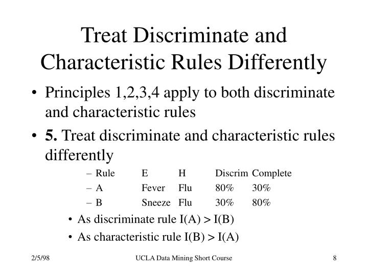 Treat Discriminate and Characteristic Rules Differently