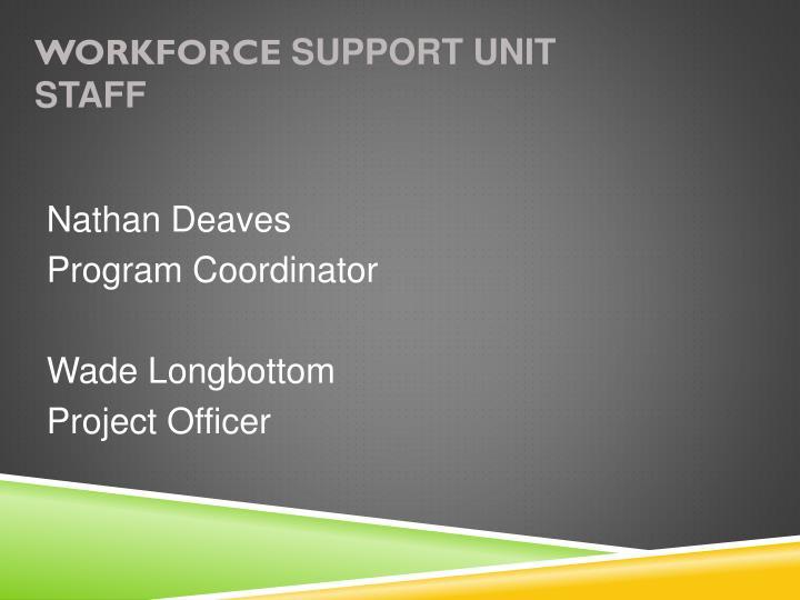 Workforce support unit staff