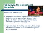 objectives for instructional materials1