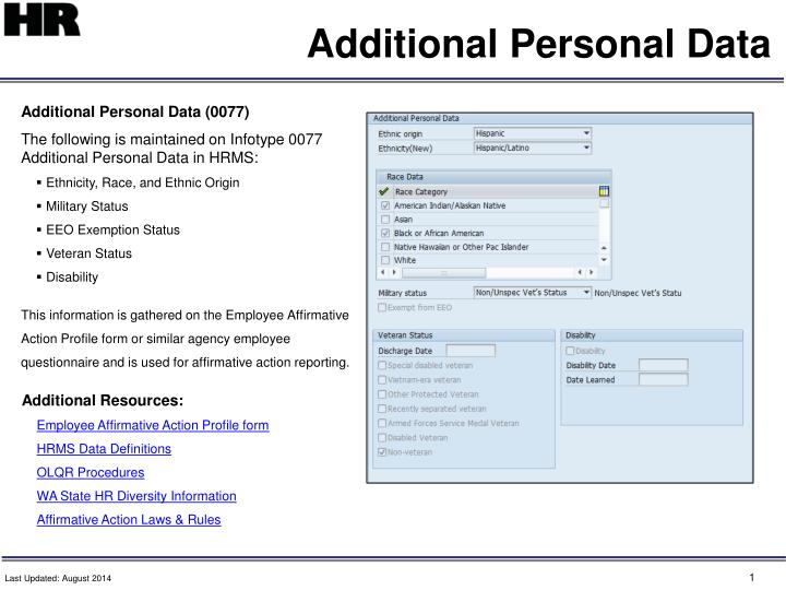 additional personal data n.
