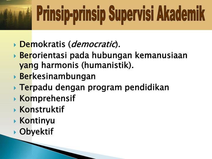 Prinsip-prinsip Supervisi Akademik