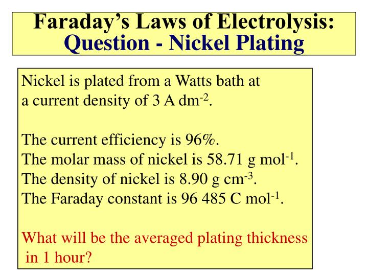 Faraday's Laws of Electrolysis: