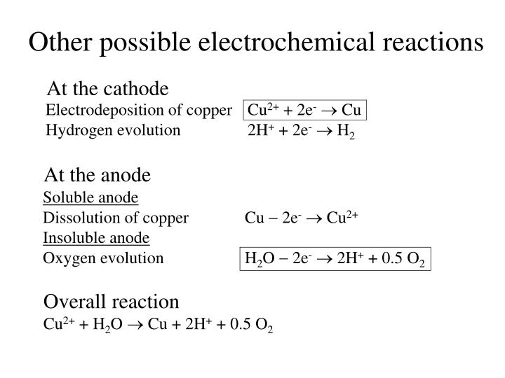 Other possible electrochemical reactions