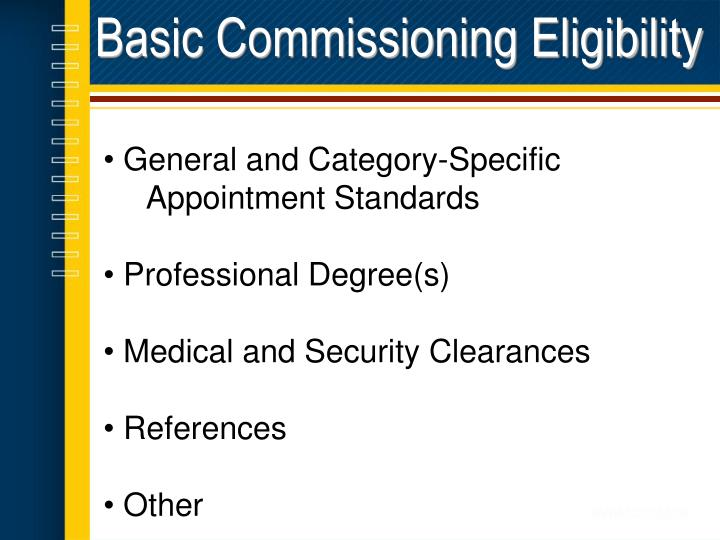 Basic Commissioning Eligibility