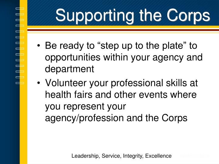 Supporting the Corps