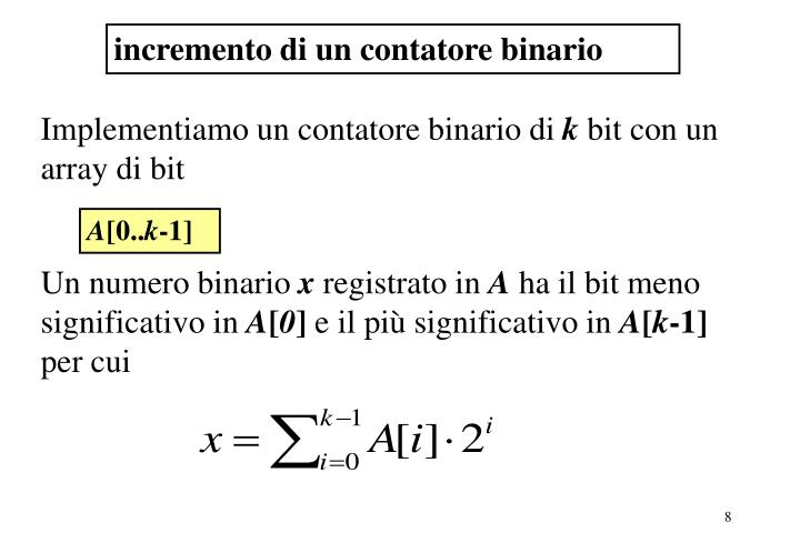 Incremento contatore binario