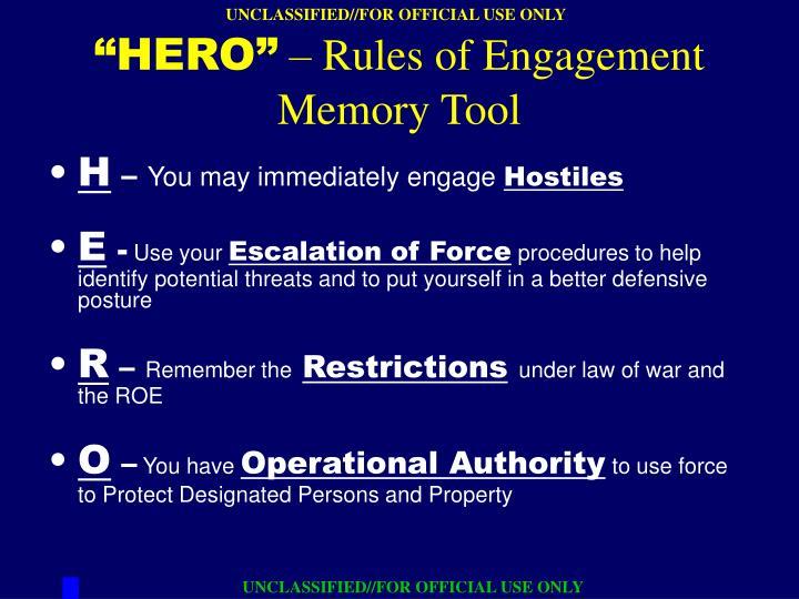 Hero rules of engagement memory tool