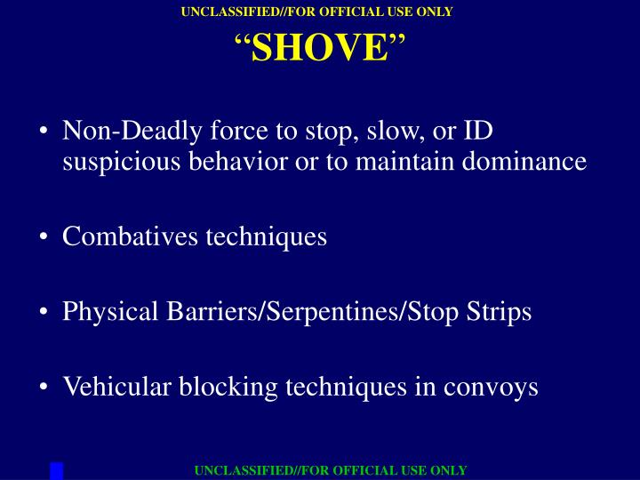 Non-Deadly force to stop, slow, or ID suspicious behavior or to maintain dominance