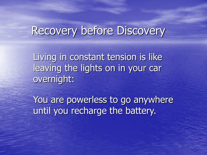 Recovery before Discovery