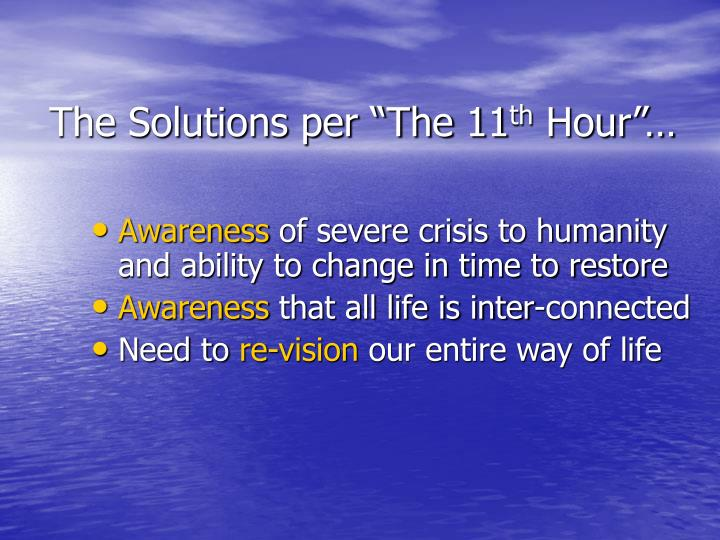 """The Solutions per """"The 11"""