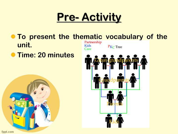 Pre- Activity