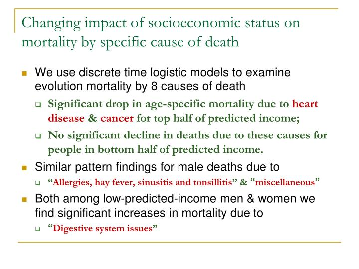 Changing impact of socioeconomic status on mortality by specific cause of death