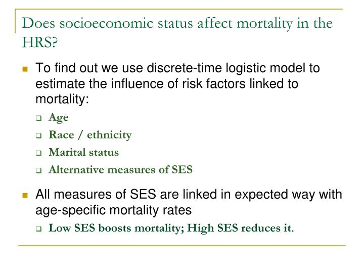 Does socioeconomic status affect mortality in the HRS?