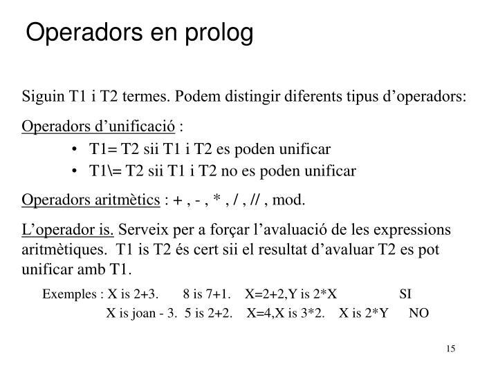 Operadors en prolog