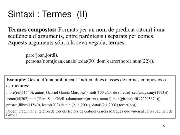 Sintaxi : Termes  (II)