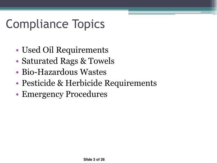 Compliance topics1