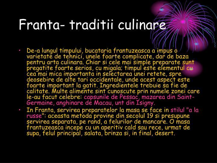 Franta- traditii culinare