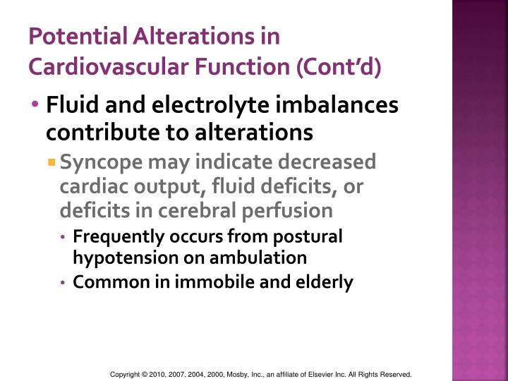 Potential Alterations in Cardiovascular