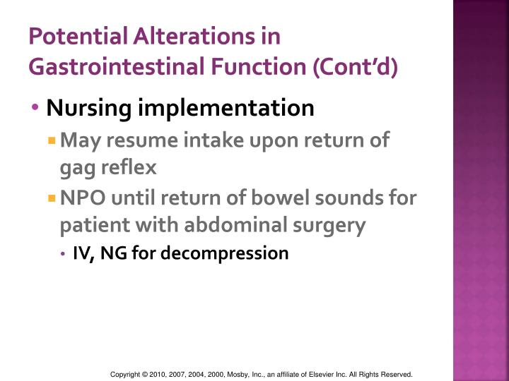 Potential Alterations in Gastrointestinal